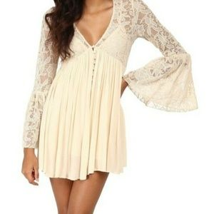 Free People Love From India Ivory Lace Mini Dress